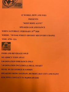 """Keep Hope Alive"" Speaker Jam & Dance @ Odyssey Recovery Chapel | Flint | Michigan | United States"