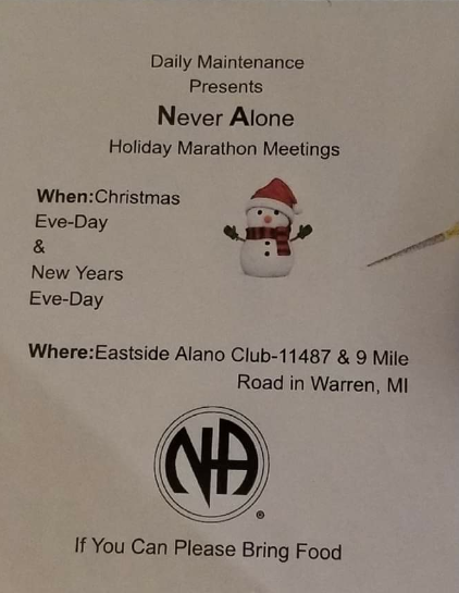 Marathon Meeting Christmas Eve @ Eastside Alano Club | Warren | Michigan | United States