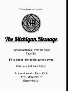 Action Group presents THE MICHIGAN MESSAGE   Speakers from all over the state  and Taco Bar.. @ Montcalm Alano Club | Greenville | Michigan | United States