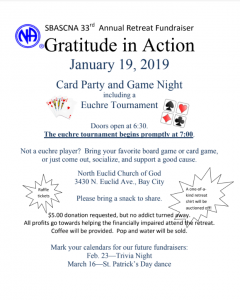 SBASCNA 33rd Annual Retreat Fundraiser - Card Party @ North Euclid Church of God