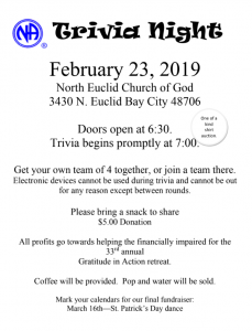 SBASCNA 33rd Annual Retreat Fundraiser - Trivia Night @ North Euclid Church of God