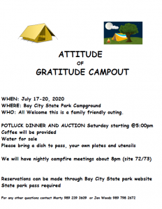 Attitude of Gratitude Campout @ Bay City State Park Campground