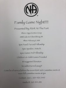 Family Game Night Presented by R n R at the Fort @ Opportunities Group | Edwardsburg | Michigan | United States