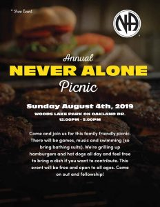 NEVER ALONE ANNUAL PICNIC          (note the location change) @ Woods Lake Park | Kalamazoo | Michigan | United States
