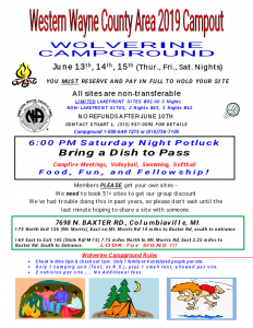 Western Wayne County Area 2019 Campout @ Wolverine Campground
