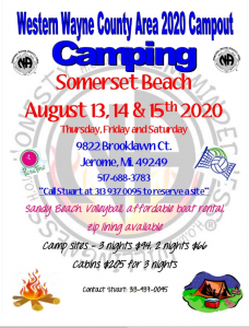 Western Wayne County Area 2020 Campout @ Somerset Beach | Jerome | Michigan | United States