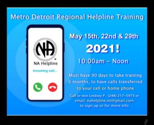Metro Detroit Helpline Training @ Must have 90 days clean!