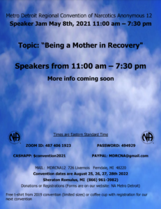 Speaker Jam - Being a Mother in Recovery @ Zoom ID: 487 406 1923 / PW: 494929