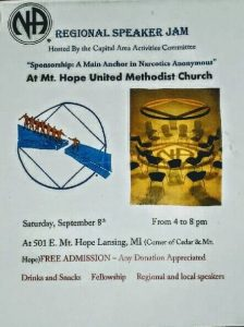 """REGIONAL SPEAKER JAM """"Sponsorship: A Main Anchor in Narcotics Anonymous"""" Hosted by the Capital Area Activities @ Mt. Hope United Methodist Church   Lansing   Michigan   United States"""